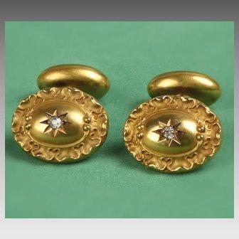 14K Vintage Diamond Cufflinks