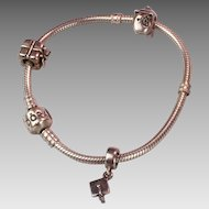 Authentic Pandora Sterling Bracelet with 3 Sterling Pandora Charms