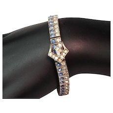 "1920's Art Deco Wachenheimer ""Diamonbar"" Rhinestone and Sterling Silver Bracelet"