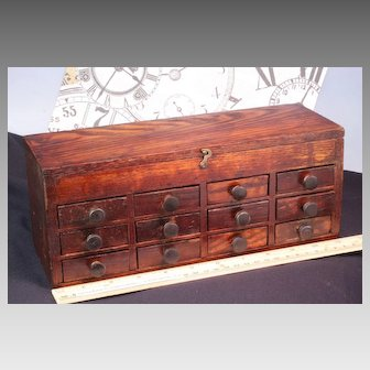 12 Drawer Antique Pocket Watch Repairman Parts Cabinet