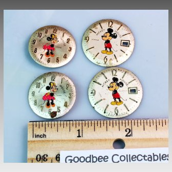 Two Pairs of Vintage Mickey & Minnie Mouse Metal Watch Dials