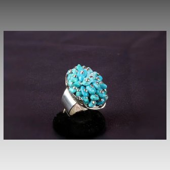 Turquoise Nugget Sterling Silver Wide Band Ring