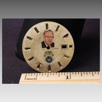 "Vintage Metal Watch Dial depicting James Edward ""Sunny Jim"" Fitzsimmons (July 23, 1874 – March 11, 1966)  -Race Horse Trainer"