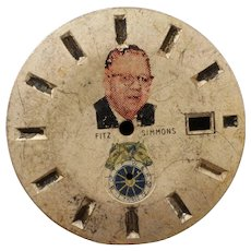 """Vintage Metal Watch Dial depicting James Edward """"Sunny Jim"""" Fitzsimmons (July 23, 1874 – March 11, 1966)  -Race Horse Trainer"""