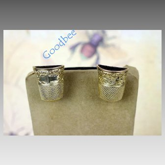 14K Antique Sewing Thimble Earrings