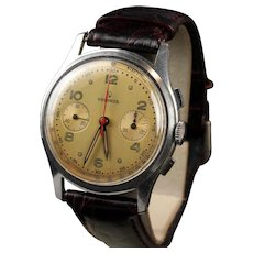 37.5 mm Vintage Helbros Pilot Chronograph Stainless Steel Watch