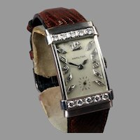 "14K White Gold Diamond Hamilton ""Top Hat"" Wrist Watch - Ca: 1940's & 50's"