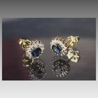 Pair of 14K Sapphire and Diamond Earrings