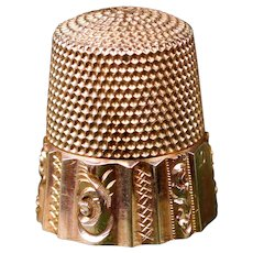"Antique Victorian 14K Yellow Gold  ""MKO"" , Size 10 Thimble, Hand Chased Ornate Design"