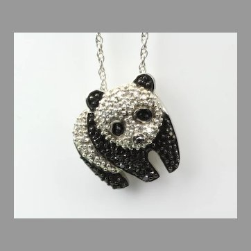 Sterling and Diamond Panda Pendant & Chain
