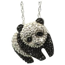 Sterling and Diamond Panda Pendant & Chain
