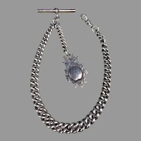 Sterling Silver English Tapered Pocket watch Chain & Fob