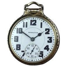 1938 Hamilton 16 Size 992 Elinvar Railroad Pocket Watch
