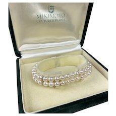 Vintage Mikimoto Double Strand Pearl Bracelet