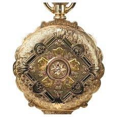 14K Multicolor Gold Elgin 6 Size Box Hinge Hunting Case, Scalloped Edge Pocket Watch