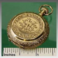 14K Am. Waltham 0 Size Multicolored Dial Pocket Watch