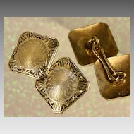 Ca: 1925 Hayden W. Wheeler & Co. 14K Yellow Gold  Deco Cufflinks