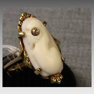 Vintage 10K Cameo Ring with Diamond