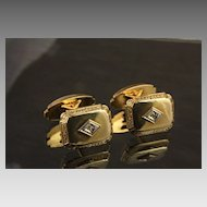 Ca: 1950's  - 10K Cuff Links with Diamonds