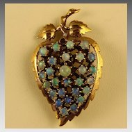 14K Gold Leaf Shape Opal Pin / Pendant with 28 Opals