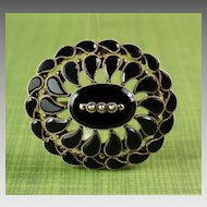 14K Gold Onyx & Pearl Mourning Brooch / Pendant .... Ca: 1920's or Earlier