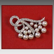 14K White Gold Diamond & Pearl Pin / Brooch