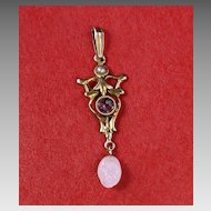 10K Antique Lavalier Pendant with Amethyst & Pearls