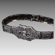 10K White Gold Vintage Filigree Bracelet with Emeralds & Diamond