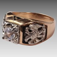 14K Masonic Shriner 32nd Degree Ring with White Topaz