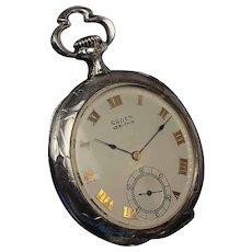 "Rare Sterling Gruen ""Verithin"", 21 Jewel Chronometer Balance Pocket Watch, Case by Huguenin Brothers"
