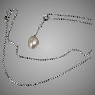 14K Diamond and Fresh Water Pearl Pendant & Chain