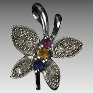 14K White Gold Butterfly Pendant with Diamonds &  Birthstones