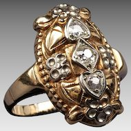 Antique 14K Two Tone Gold Euro Cut Diamond Filigree Ring