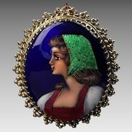 Unusual 14K Enameled Porcelain French Cameo Pin / Pendant