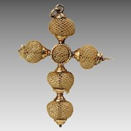 Gold Filled Victorian Mourning Braided Hair Religious Cross Pendant