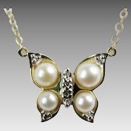 10K Butterfly Pearl & Diamond Necklace