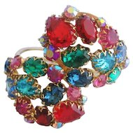 Vintage Fruit Salad Multi Colored Rhinestone Wrap Bracelet