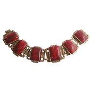 Vintage Marbled Red and Gold tone Panel Bracelet