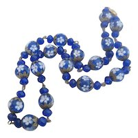 Vintage Czech Lampwork Cobalt Blue Glass and Spun White Floral Bead Necklace