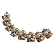 Vintage Retro Modern Style Gold tone Rhinestone and Simulated Pearl Bracelet
