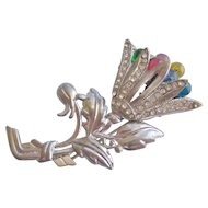Vintage Pot Metal and Acrylic Floral Pin Brooch