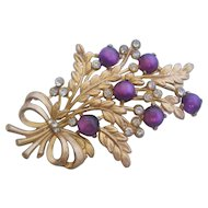 Vintage Purple Moon Stone Floral Pin Brooch