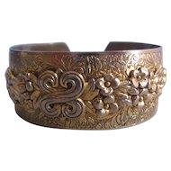 Vintage Brass Floral Cuff Bracelet
