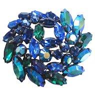 Vintage Blue Aurora Regency Brooch Pin
