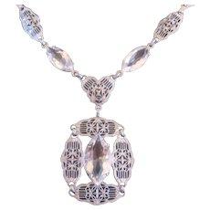 Vintage Filigree Pierce work Rhodium Plated Art Deco Necklace