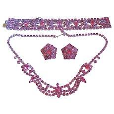 Vintage Pink Rhinestone Necklace-Bracelet-Earrings-Parure Set