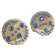 Vintage Mid Century Plastic and Blue Rhinestone Earrings