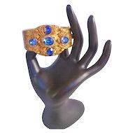 Vintage Blue Gass Brass Czech Hinged Cuff Bracelet