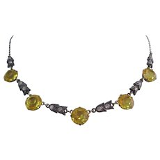 Vintage Art Deco Style Lemon Yellow Crystal and Paste Necklace
