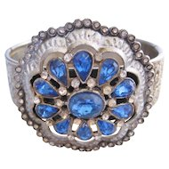 Vintage Silver tone -Blue and Clear Rhinestone Bangle Bracelet
